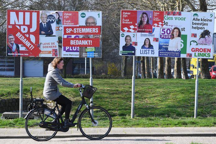 Verkiezingsborden in Boxmeer, maart 2019.
