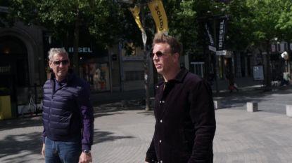 Gert Verhulst en James Cooke controleren of shoppers op de Meir de coronaregels volgen