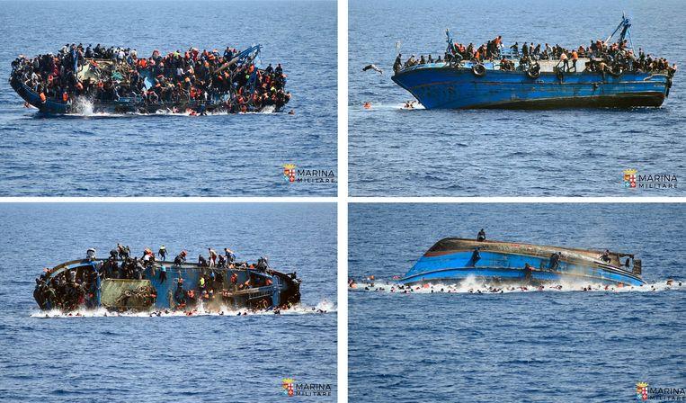 Een boot die is vertrokken vanuit Libië kapseist in de Middellandse Zee. Beeld ap