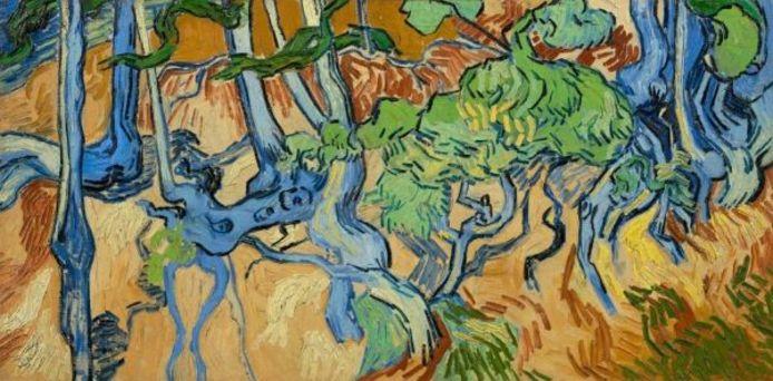 Het schilderij Boomwortels van Vincent van Gogh.