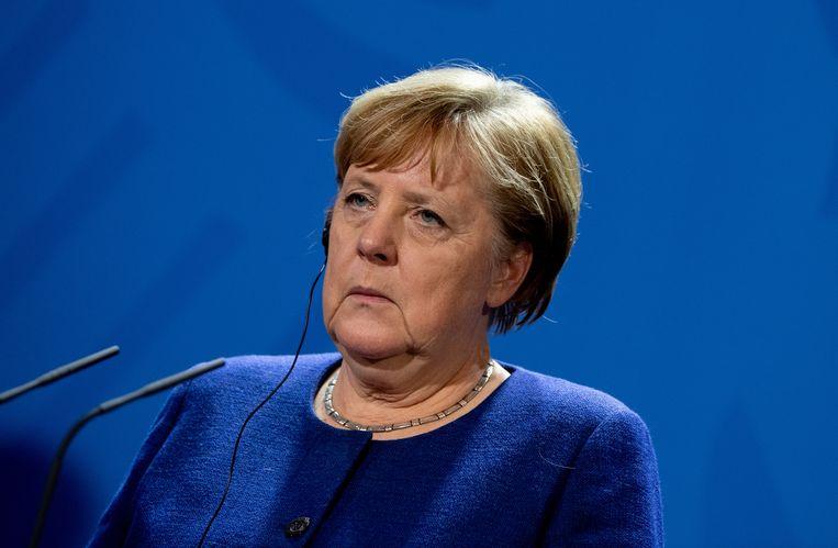 De Duitse bondskanselier Merkel is gastvrouw van het vredesoverleg over Libië dat morgen in Berlijn wordt gehouden.  Beeld EPA