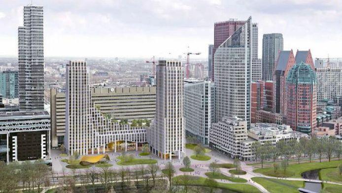 Het nieuwe plan bestaat uit twee verbonden woontorens voor station Den Haag Centraal.