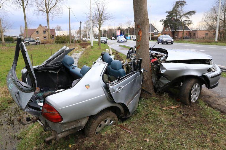 De auto plooide zich rond de boom.
