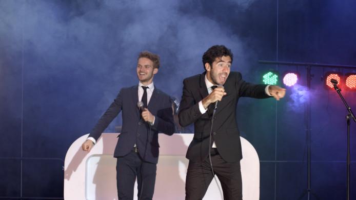 Teun en Marco belanden in de film op het podium van Markant Uden.