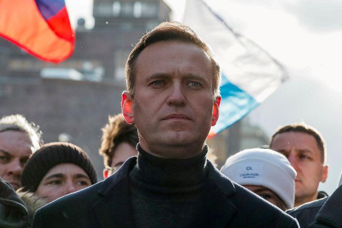 De Russische oppositieleider Aleksej Navalny tijdens een betoging in Moskou in februari.