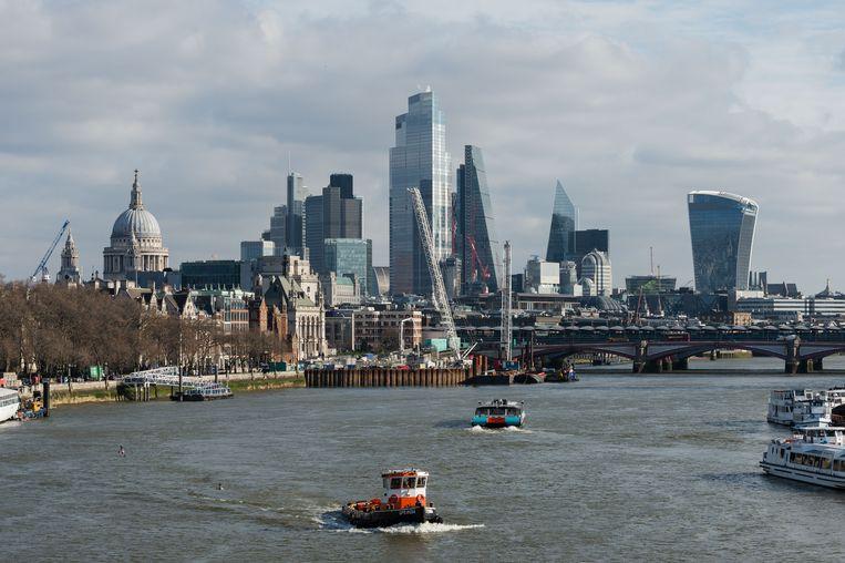 The City, het zakencentrum van Londen met uitzicht over de Thames. Beeld Getty Images