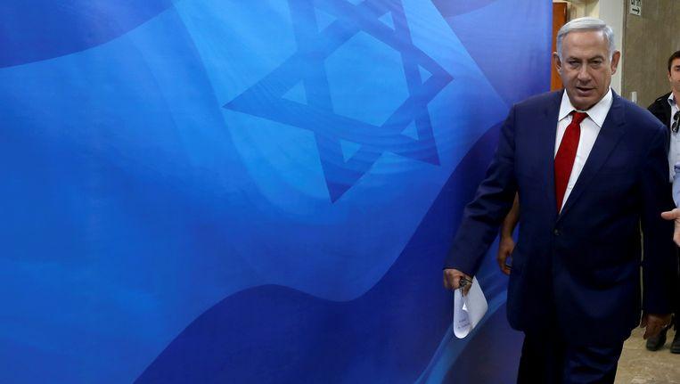 De Israëlische premier Benjamin Netanyahu, vandaag voor de wekelijkse kabinetsraad.