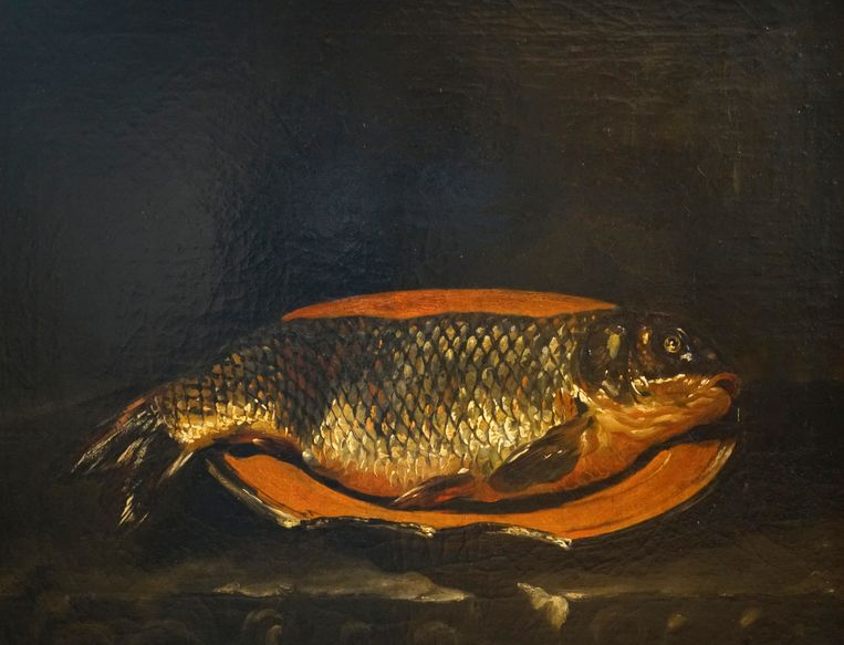 Onbekende schilder, Stilleven met een vis op een schotel, 17de eeuw, olieverf op doek, 50 x 66,5 cm, Museum de Fundatie locatie: kasteel Nijenhuis, Wijhe. Beeld Museum de Fundatie