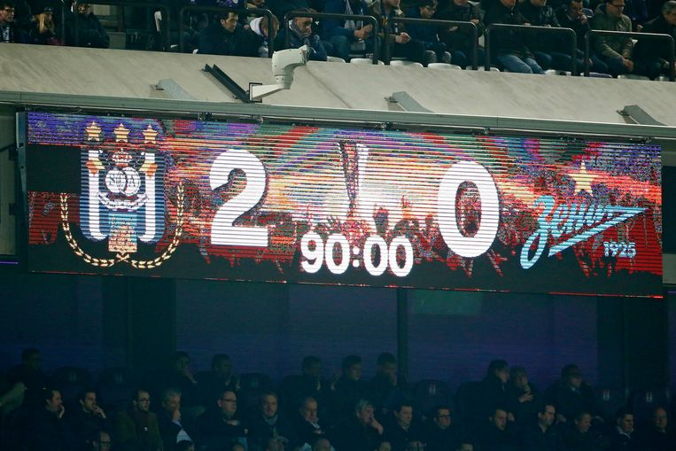 ANDERLECHT, BELGIUM - 16 FEBRUARY :Scoreboard  Rsc Anderlecht celebrates    during the match between RSC Anderlecht and Zenit St. Petersburg - UEFA Europa League Round of 32: First Leg in Anderlecht, Belgium , 16/02/2017  (Photo by Jimmy Bolcina/ Photo News Beeld null