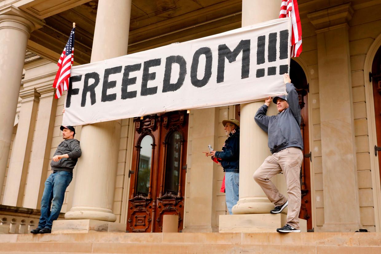 Protest tegen de lockdown in de staat Michigan. Beeld AFP