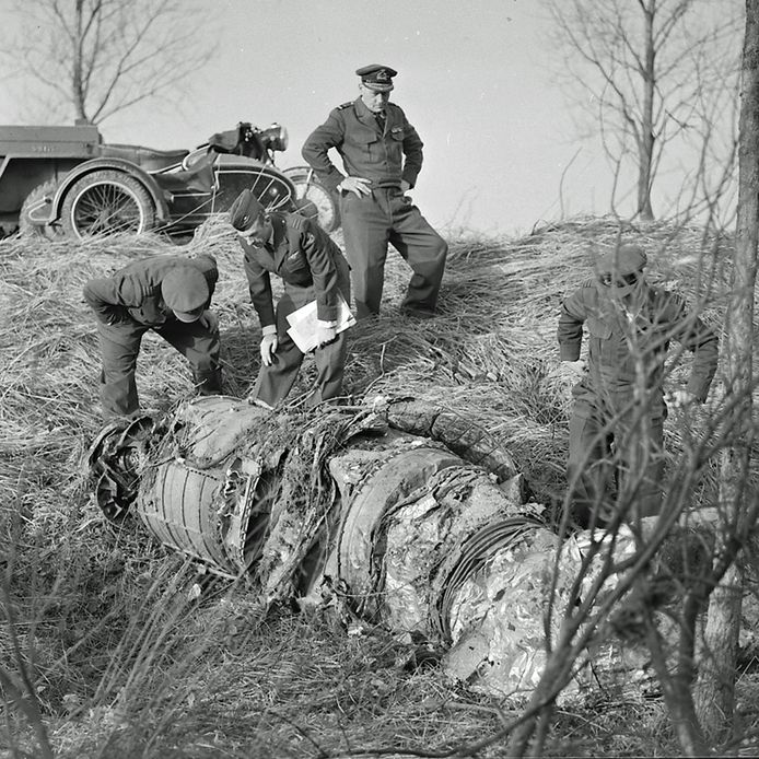 Neergestortte straaljager in Breugel in 1961