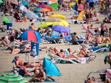 Gele vlag gehesen op strand Hoek van Holland