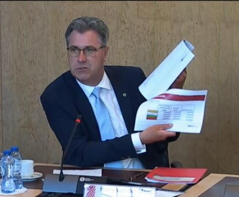 Gedeputeerde Harry van der Maas laat de leden van de Provinciale Staten zien op welke cijfers hij zich baseert voor de keuze om de Zanddijk naar Yerseke te verbreden.