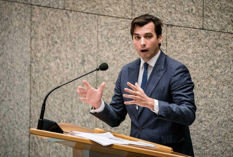 Thierry Baudet (FvD) tijdens een debat over de ontwikkelingen rondom het coronavirus in de Tweede Kamer. Beeld ANP