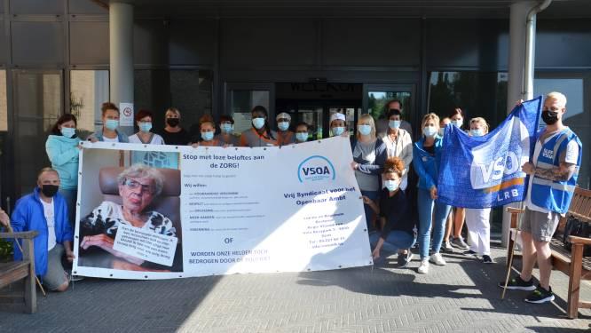 Vakbond en personeel voeren actie tegen privatisering zorg aan wzc Klateringen