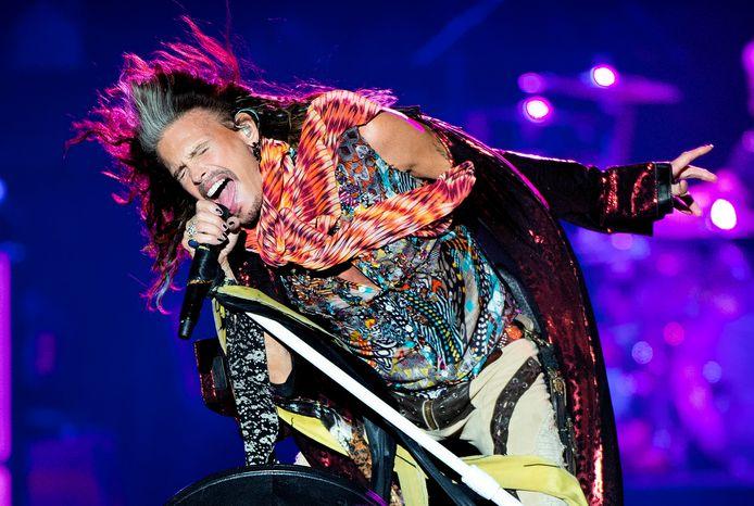 Steven Tyler van Aerosmith op het podium