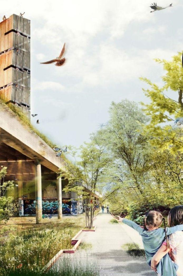 Een toekomstbeeld van het spookhotel in Mechelen.