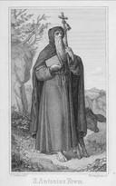 De heilige Antonius, te herkennen aan het varken en de staf.