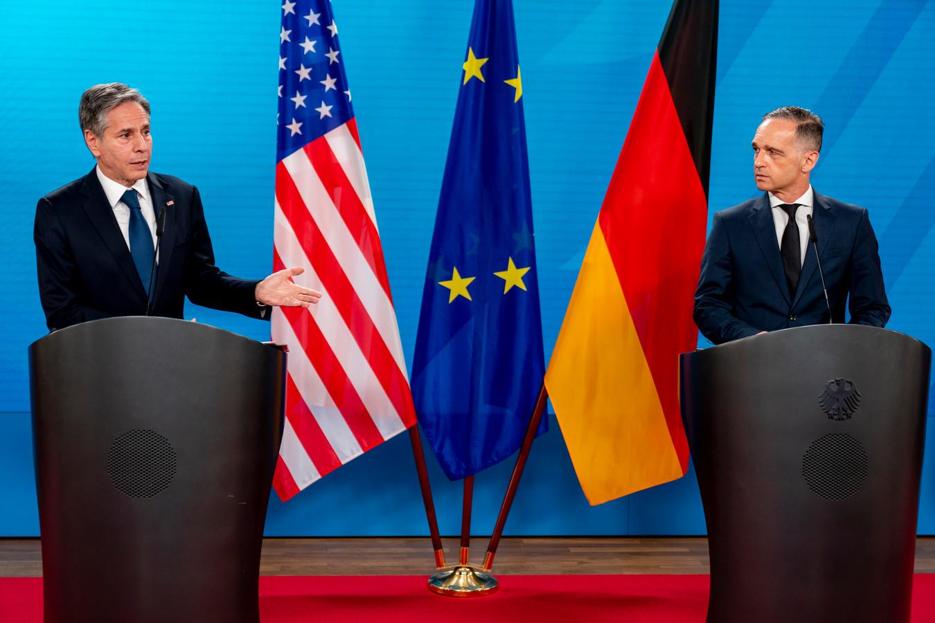 Le secrétaire d'État américain Antony Blinken et son homologue allemand Heiko Maas (Berlin, 23 juin)