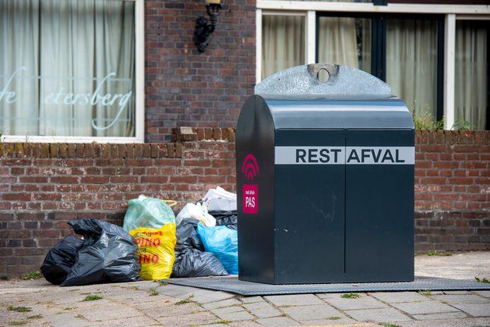 Afvalcontainer in het straatbeeld, hier in Arnhem. Foto ter illustratie.