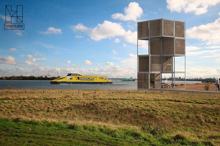 Havenland zal in de toekomst ook een waterbus inleggen. Op de voorgrond zien we een simulatie van een uitkijktoren die aan de oever gebouwd zal worden.