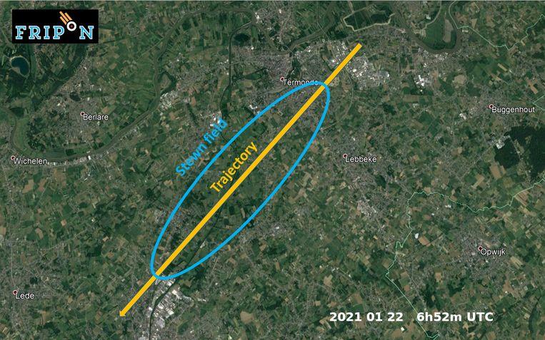 Het traject van de meteoriet. Beeld FRIPON