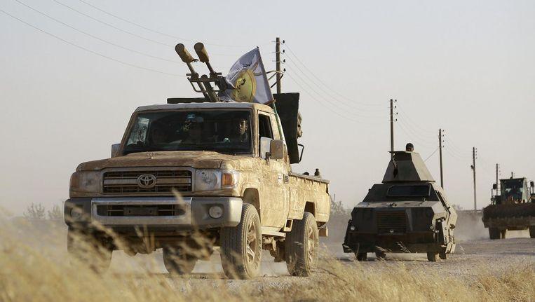 Koerdische strijdkrachten rukken op richting Manbij. Beeld afp
