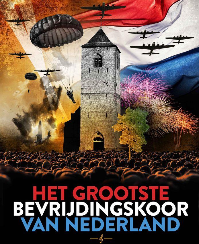 Met deze poster  laat Stichting 75 Jaar Bevrijding Staphorst-Rouveen e.o.  zien wat de bedoeling is van de bijeenkomst op 24 april.