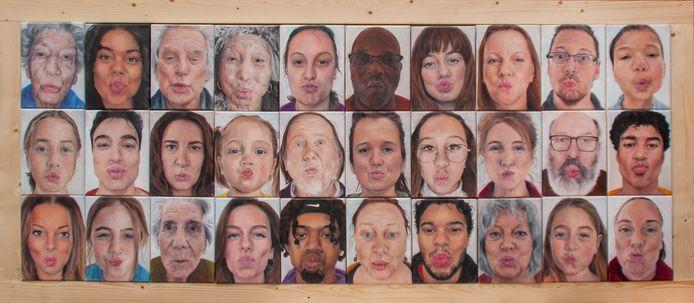 Alle portretten die Daisy Karthaus maakte voor haar portrettenreeks KUS.