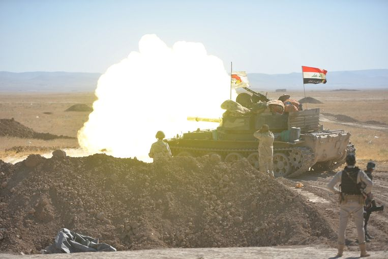 Iraakse troepen in de buurt van Tal Afar. Beeld reuters