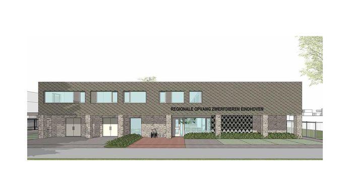Het ontwerp van het hoofdgebouw met entree van het nieuwe dierenasiel in Eindhoven, aan de Kanaaldijk-Noord.