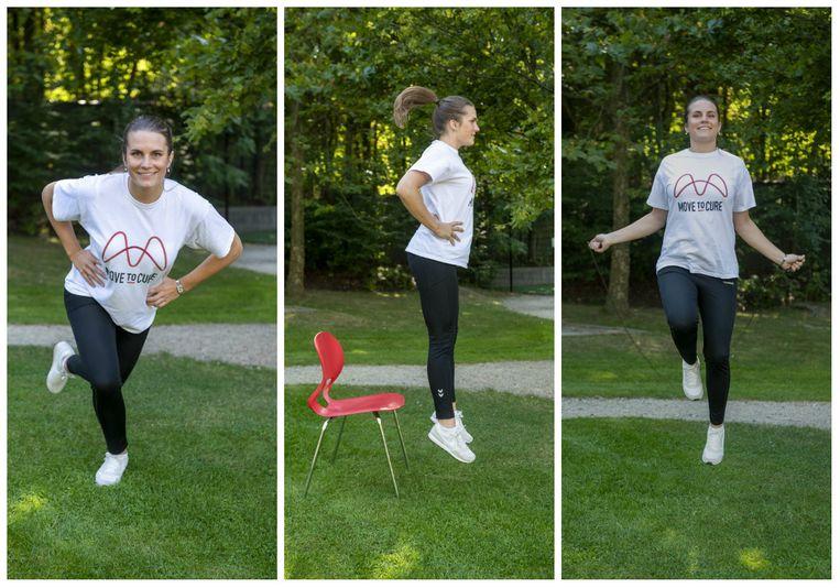 Sportkinesist Marie-Laure Willaert geeft tips en oefeningen. Beeld Carline Vandercruyssen