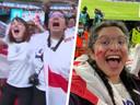 Links: Farooqi (r) en haar vriendin komen in beeld. Rechts: Farooqi in het stadion.