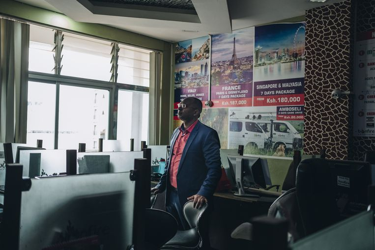 Simon Kabu, oprichter van het Keniaanse reisbureau Bonfire Adventures, had voor de corona-uitbraak 200 mensen in vaste dienst. Hij heeft de meesten moeten ontslaan. Beeld Hollandse Hoogte / The New York Times Syndication