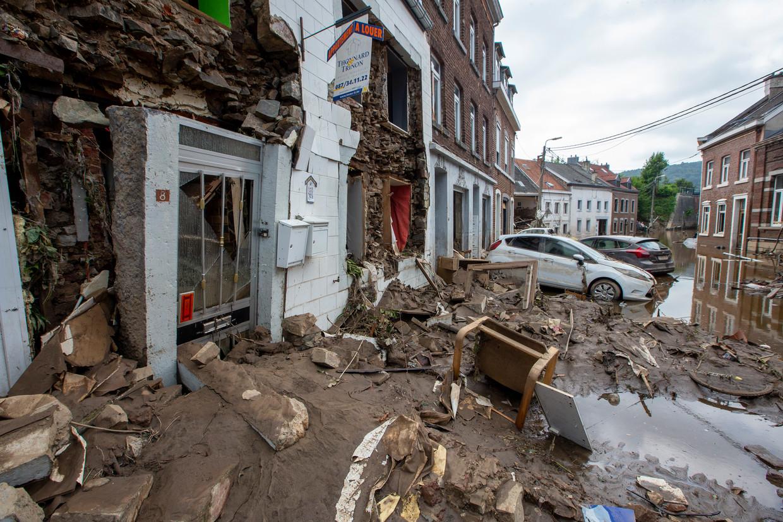 De schade in Pepinster na de hevige regenval Beeld BELGA