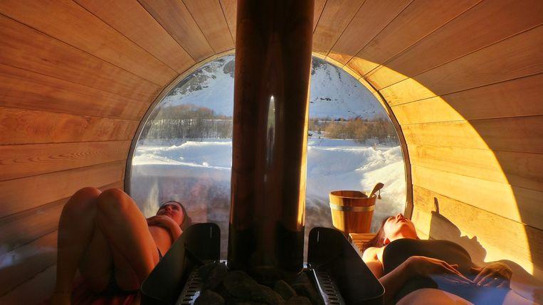 Na het skiën naar de sauna. Beeld Joseph Jeanmart