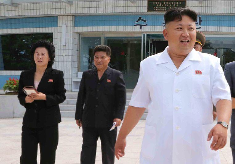 Kim Jong-un (R) vergezeld door zijn jonge zus Kim Yo-jong(L) Beeld EPA