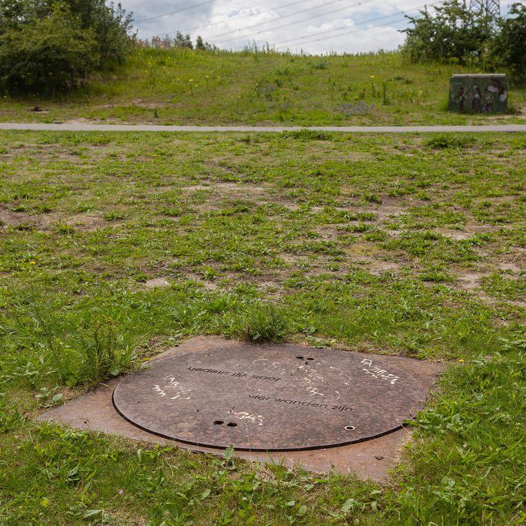 Zoals vijf strepen vier wanden zijn, 1 van de 103 putdeksels van De ontmoeting van Maria Barnas in het Diemerpark. Beeld Nina Schollaardt