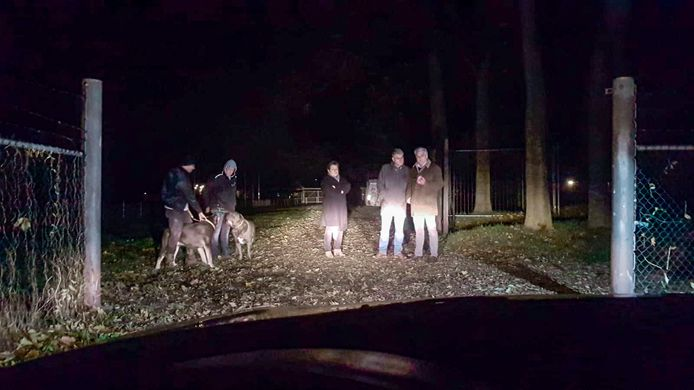 De familie Derks houdt met honden de wacht bij het sportcomplex van Achilles '29.