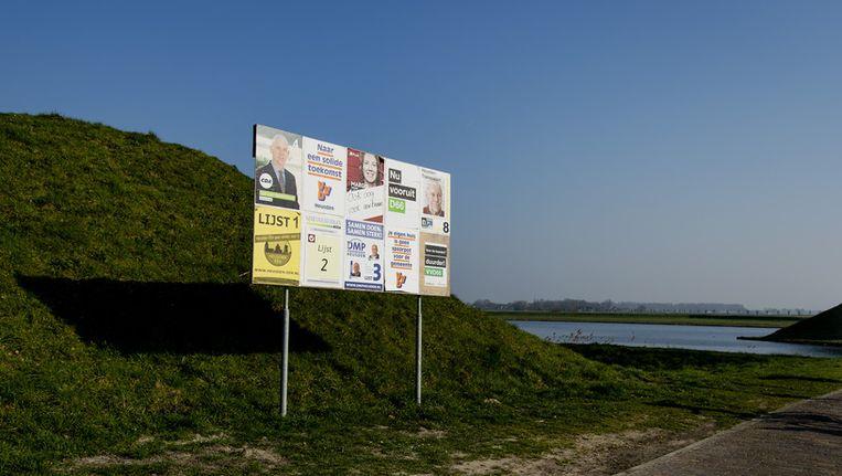 Een oproep tot stemmen in Heusden. Beeld ANP