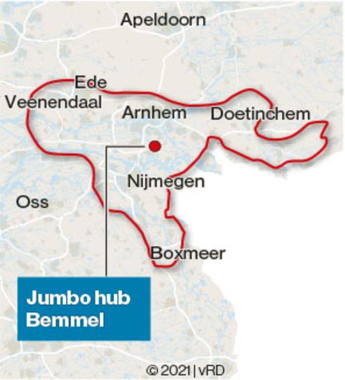 In grote lijnen het gebied dat Jumbohub Bemmel onder z'n hoede heeft.