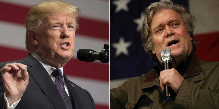 """President Donald Trump en zijn voormalige topadviseur Steve Bannon. Die  laatste haalde uit naar Trump Jr. omwille van een ontmoeting met een Russische advocate en ook zou hij Ivanka Trump """"oliedom"""" hebben genoemd."""