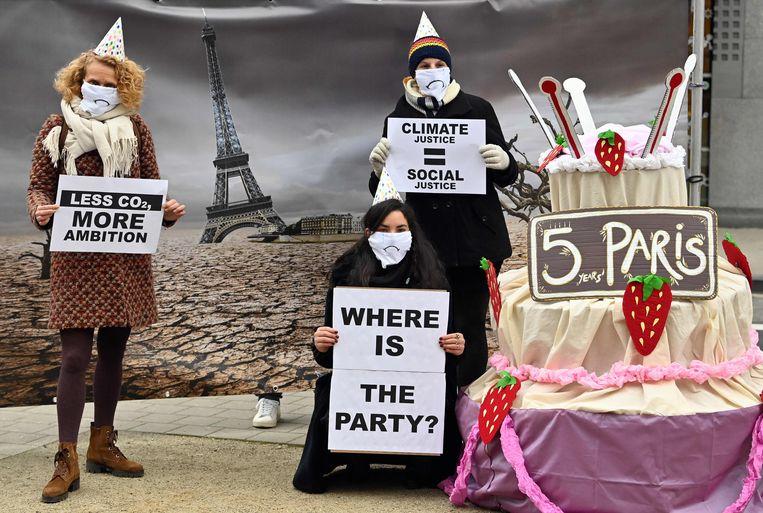 December: milieuactivisten in Brussel voorafgaand aan een Europese top over het klimaat.  Beeld AFP