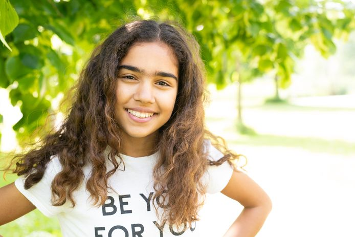 Alicia met haar lievelingsshirt: Be You For You.