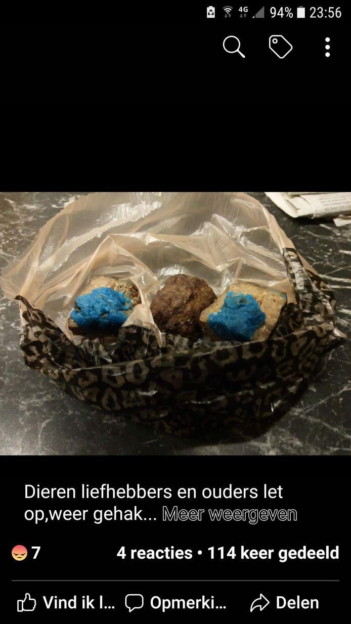 Er werden opnieuw gehaktballen met gif aangetroffen in Hoogerheide.