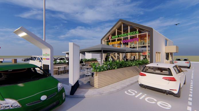 Impressie van het nieuwe restaurant met drive-thru