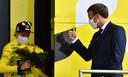 Primoz Roglic krijgt een compliment van de Franse president Emmanuel Macron.