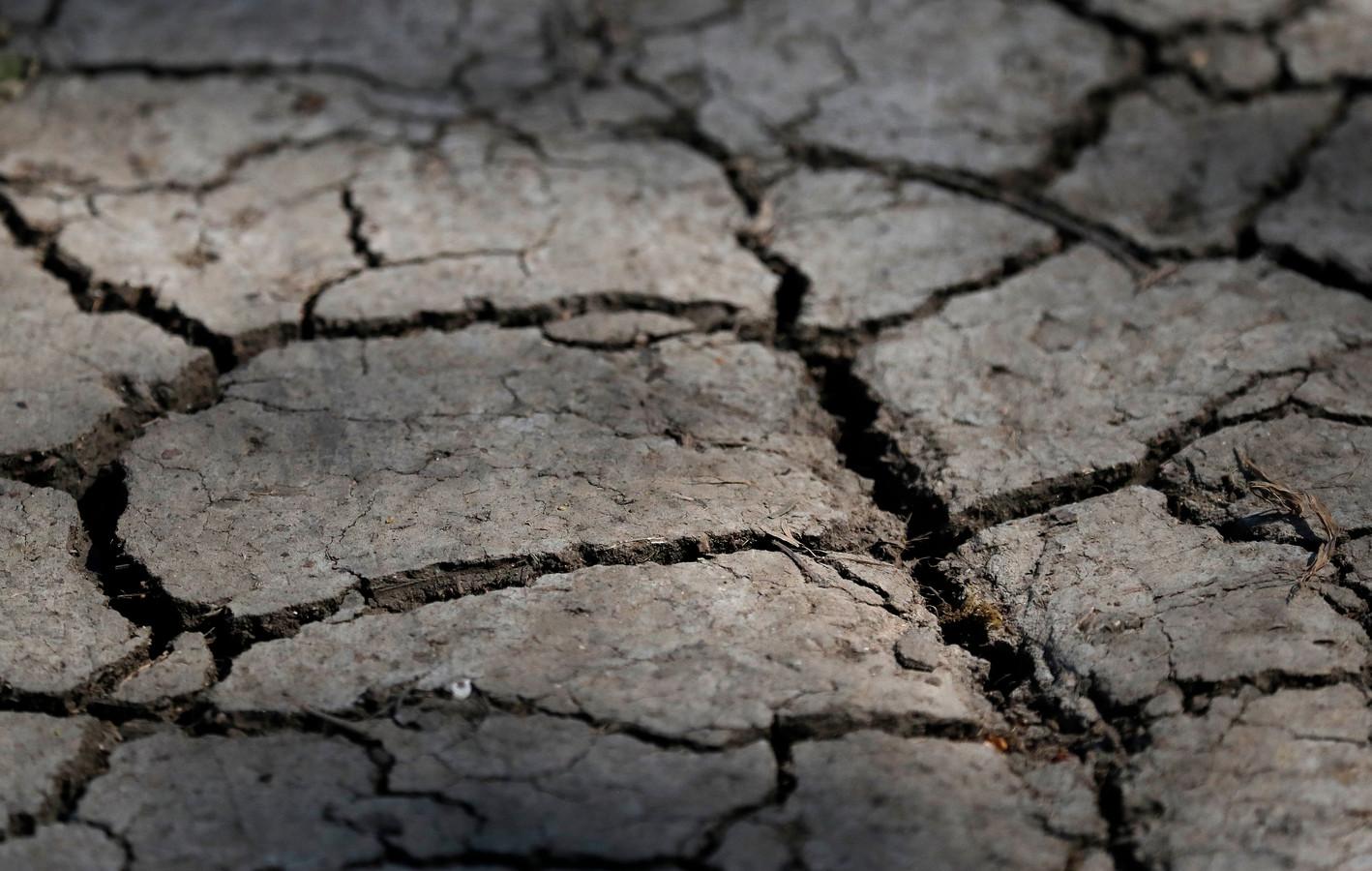 Uitgedroogde grond na een lange periode zonder regen in Londen