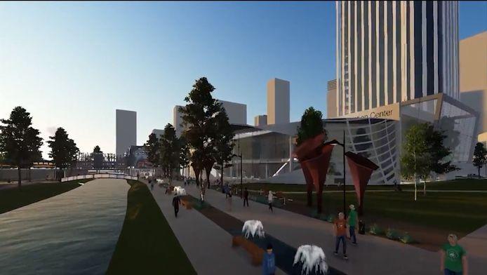 Een screenshot uit het YouTube-filmpje dat stagiair Bas Dijkhoff maakte van zijn plan voor de tweede entree van het Eindhovense station. Die krijgt een glazen hal aan de Dommel (links) en een Brainport Convention Center met daarboven een woon/werk/hotel-toren van 100 meter (rechts).