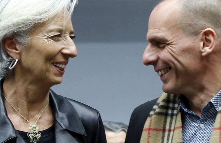 IMF-topvrouw Christine Lagarde met de Griekse ex-minister Yanis Varoufakis. Beeld REUTERS